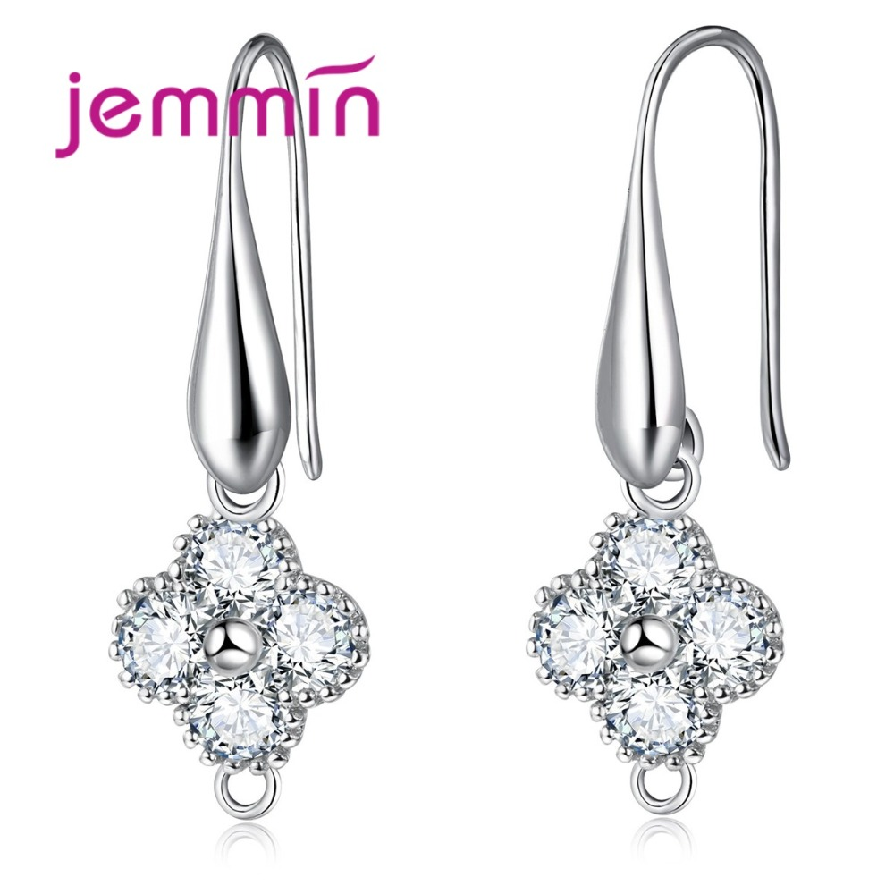 New Fine Earrings Components Lucky Clover Round Aurstrian Crystal Sterling Silver DIY Jewelry Making Accessories