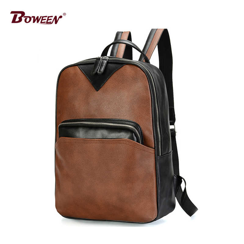 ffd36cdd1f53 Backpack Men Pu Leather Boy Teenagers School bag Retro High Schoolbag  Student College Wind Casual Back