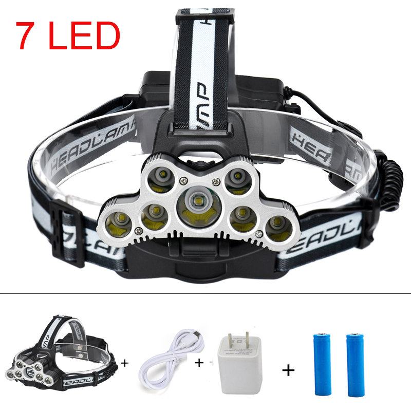 USB rechargeable 8000 LUMS 7*T6 Headlamp Headlight flashlight torch head lamp rechargeable for 18650 battery r3 2led super bright mini headlamp headlight flashlight torch lamp 4 models