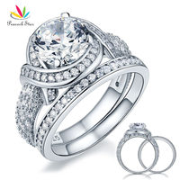 Luxury Solid 925 Sterling Silver Bridal Wedding Engagement Ring Set Vintage Style 2 Ct Created Diamond