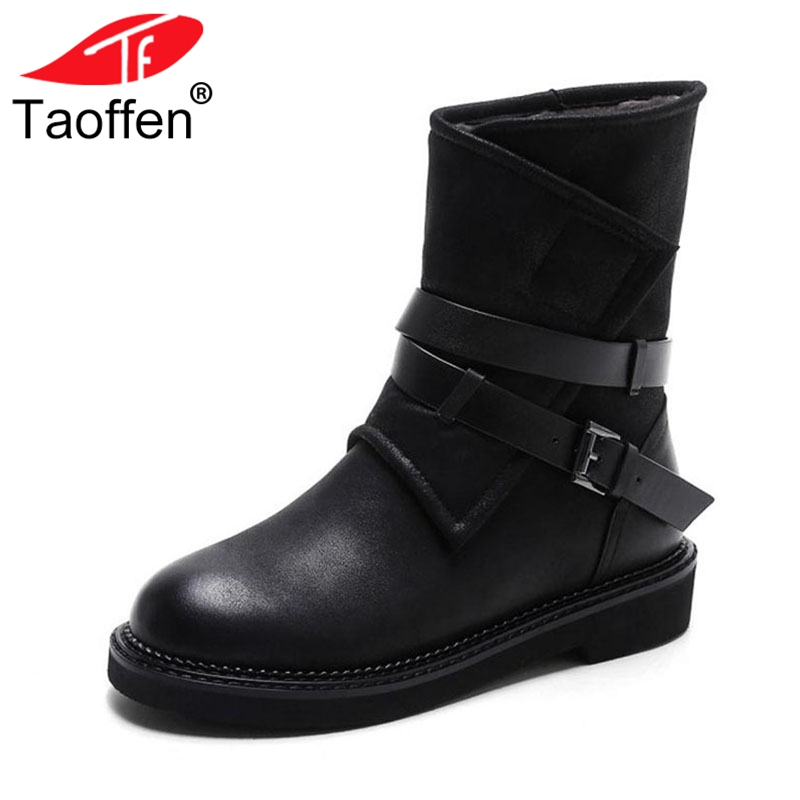 Taoffen Luxury Women Genuine Leather Mid Calf Boots Winter Plush Fur Warm Shoes Women Gothic Buckle Flats Boots Size 34-39 taoffen luxury women genuine leather mid calf boots winter plush fur warm shoes women gothic buckle flats boots size 34 39