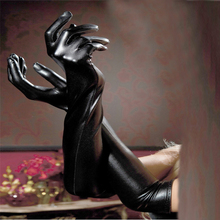 Women's Sexy Long Gloves Faux Leather Gloves Sexy Black Wet Look Adult Sexy Latex Long Gloves Sexy Gothic Party Gloves