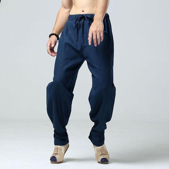 d563e820d39a 2017 New Summer Coton Lin Pantalon élastique taille Baggy large jambe  pantalon Confortable Voyage Harem Défaites