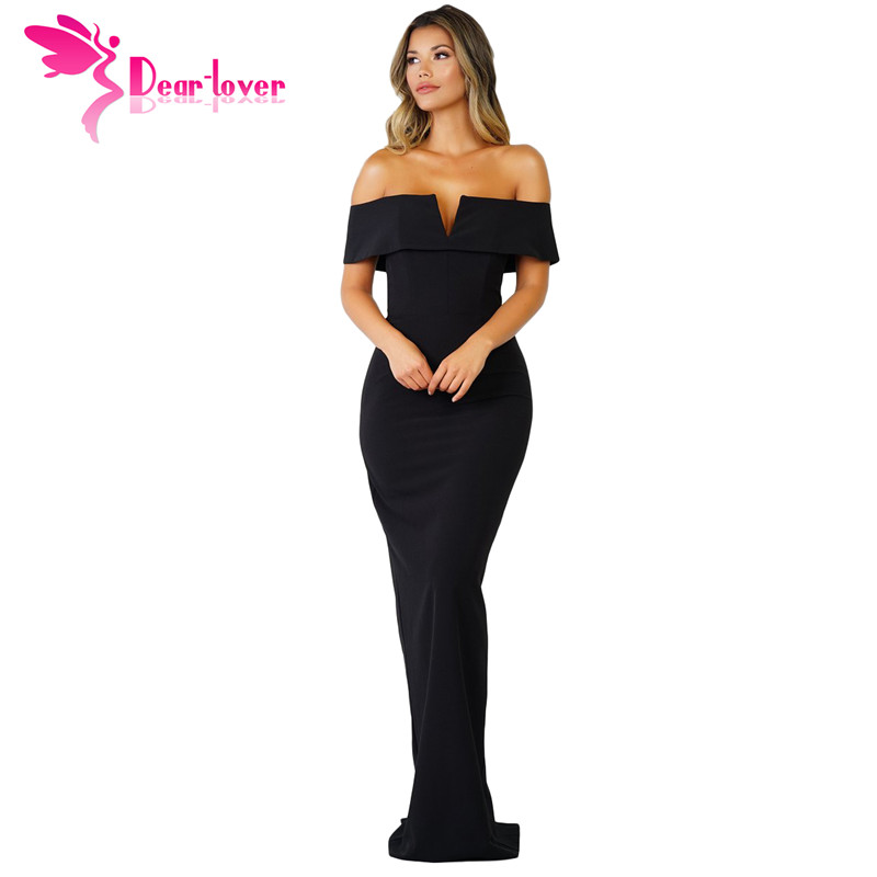 Dear Lover long dress 2018 women summer Gowns Black Social Event Red Carpet Off-shoulder Maxi Party Dress vestidos longo LC61876