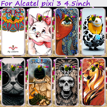 Soft TPU Silicones Minions Flower Phone Cases Alcatel OneTouch Pixi 3 only for 4G Version 4