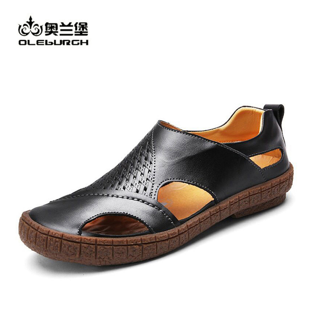 New Fashion Men Genuine Leather Shoes Summer Slip On Beach Sandals Casual Flat Office