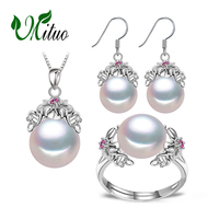 MITUO 925 Sterling Silver Natural Pearl Ruby Jewelry Sets For Women Vintage Long Earrings Bohemia Flower