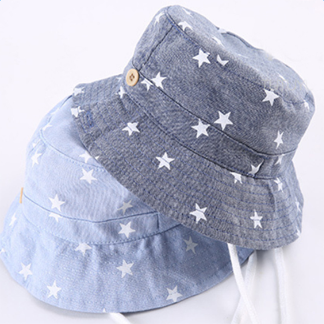 OnnPnnQ Bucket Hat Baby Cowboy Sun Hat Kids Blue Jean Caps With Chin Strap  Kids Fisherman Cap ad09558cec1