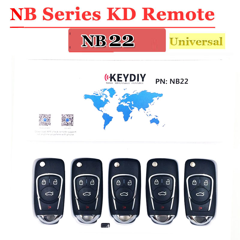 Free Shipping (5pcs/lot)NB22 Universal Multi-functional Kd900 Remote 4 Button NB Series Key For KD900 URG200 Remote Master