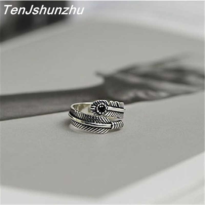 แท้ 925 เงินแหวน Handmade Vintage สีดำโกเมนหินธรรมชาติเครื่องประดับขนาดเปิดสำหรับสตรีและผู้ชาย jz240