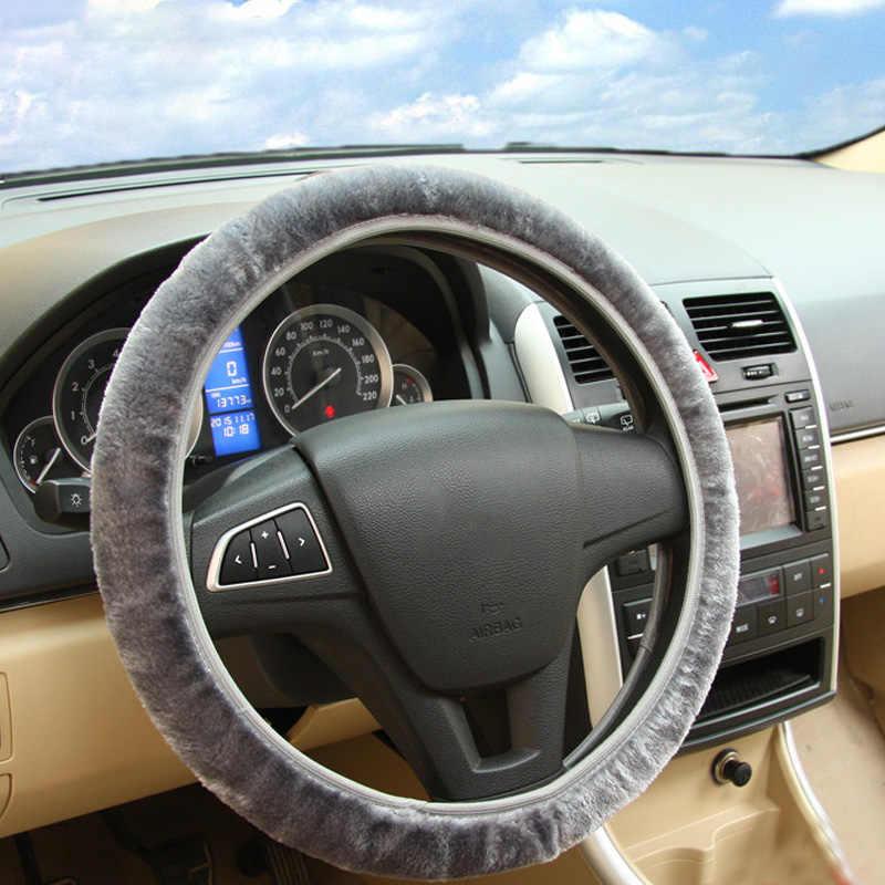 لينة أفخم سيارة DIY بها بنفسك غطاء عجلة القيادة جديلة على المقود الشتاء الدافئة يغطي تصفيف السيارة الداخلية اكسسوارات