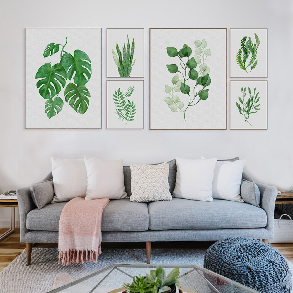 Watercolor Green Plants Monstera Leaf Poster Print Nordic Style ...