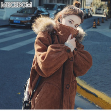 MECEBOM Winter new arrival women's Corduroy parkas cute pink long coats lady hooded Fur Collar parkas Outerwear m65c