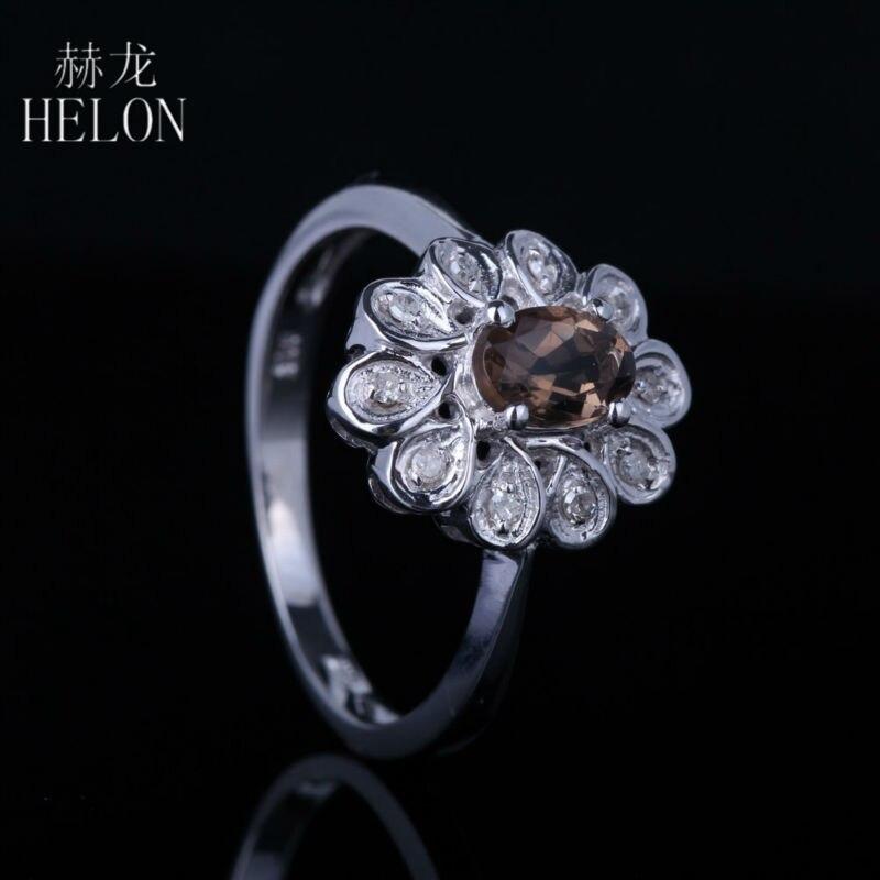 HELON 6x4mm Oval Genuine Smokey Quartz Pave Natural Diamonds Engagement Wedding Flower Ring Setting Solid 10k White Gold Ring цена