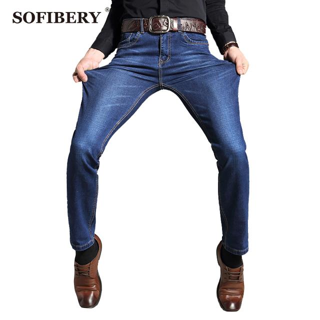 SOFIBERY Marca Para Hombre Stretch Denim Blue Jeans Slim Fit Ripped Pantalones Mens Pantalones Vaqueros Más Los Pantalones del Tamaño 35 36 38 40 42 M955-007