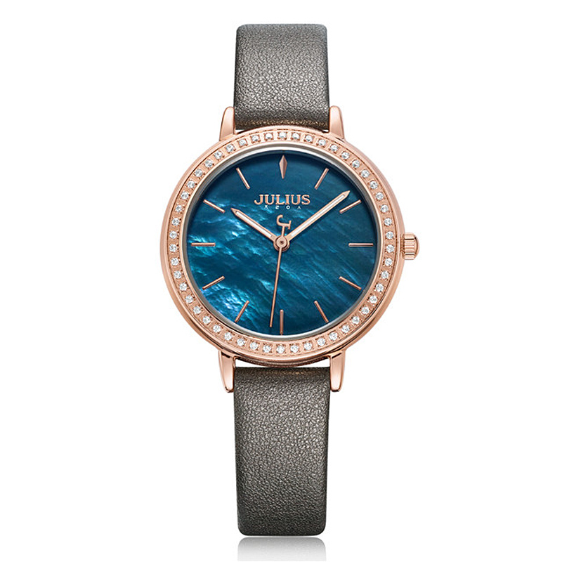 Mother of pearl Lady Women's Watch Japan Mov't Retro Hours Fine Fashion Clock Leather Bracelet Girl's Birthday Gift Julius
