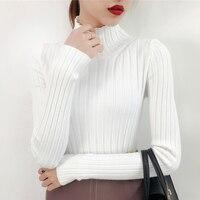 OHCLOTHING White Turtleneck Sweater Female Half Small Fresh Winter Jacket Slim Tight Long Sleeved All Match