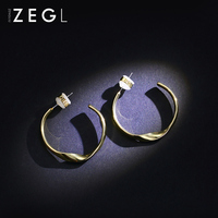 ZEGL circle earrings female temperament simple wild ring earrings personality net red ear jewelry