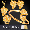 Gold Wedding Accessories '' Gold Plated Rhinestone Crystal Leaf Earrings Necklace Bracelet Ring Bridal Jewelry Sets PEHR1200