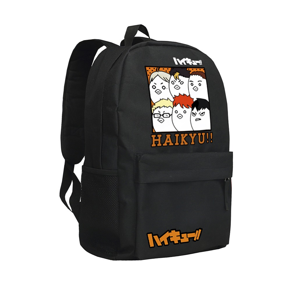 HAIKYU Black Backpack Men School Karasund Children Schoolbag Laptop Rucksack Mochila Boys Bookbag