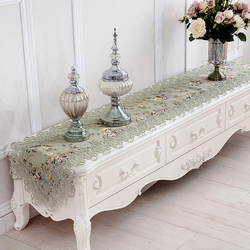 Hot European Elegant Home Decor Table Runner Bed Flag Tv Cabinet Cover Cloth Pastoral Lace