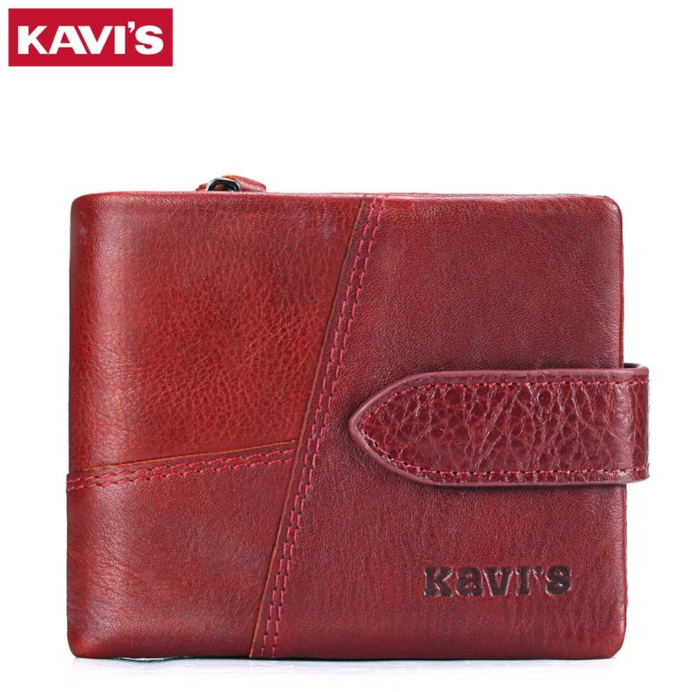 KAVIS Luxury Brand Genuine Leather Wallet Female Coin Purse Small Portomonee Lady Perse Vallet Money Bag Mini Pocket And Rfid