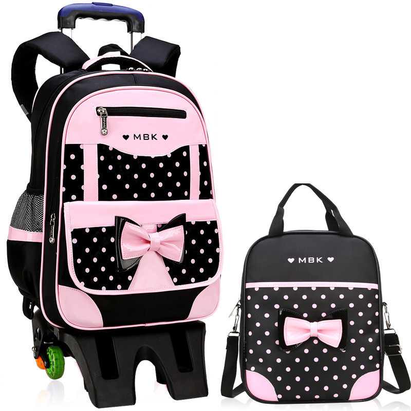 Girls Backpack Book-Bag Schoolbag Rolling-Luggage Travel Kids Children 2/6-Wheels