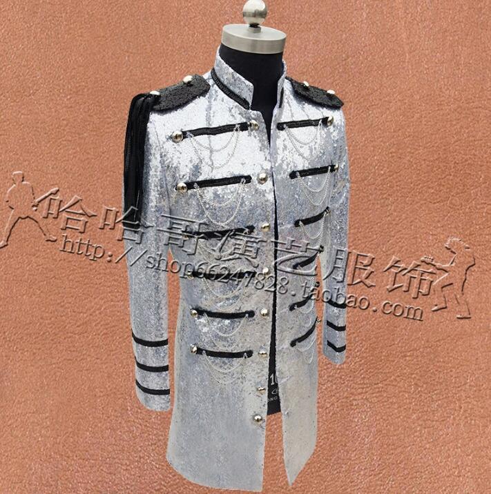 Multi breasted Kleding Mannen Pailletten Suits Ontwerpen Podium Kostuums Voor Zangers Jas Heren Blazers Dance Ster Stijl Zwart Zilver - 3