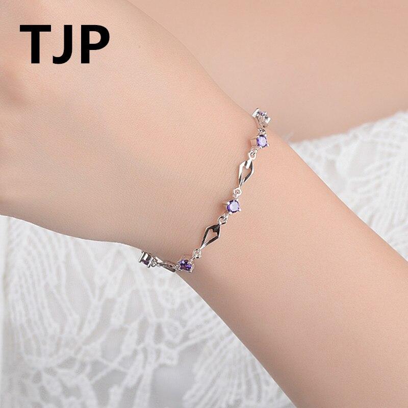 TJP Luxury 925 Sterling Silver Bracelets Jewelry Women Wedding Party Clear CZ Crystal Female Girl Accessories Dropshipping