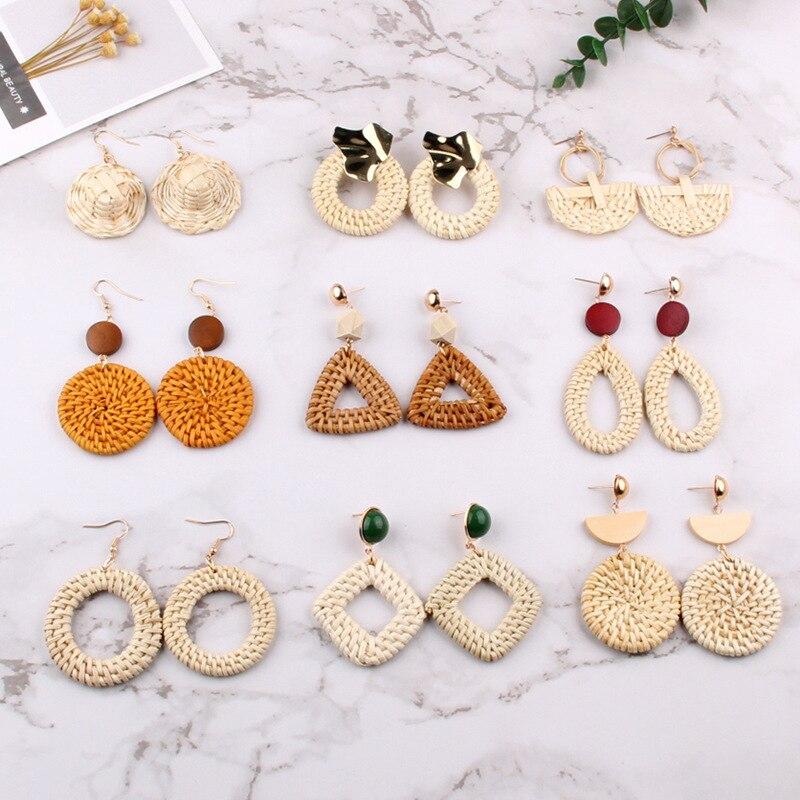 Earrings Drop Earrings Korean Ethnic Handmade Wooden Beads Weave Drop Earrings Big Geometric Circle Long Dangle Earrings For Women Beach Party Jewelry