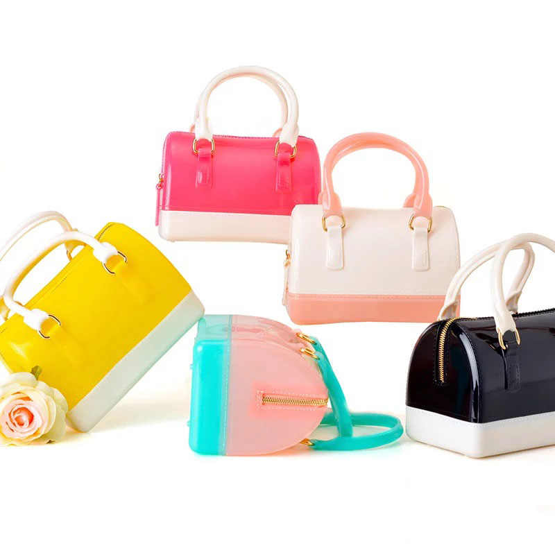 ... JELLYOOY Small Size 18cm PVC Mini Women Jelly handbag Kids Pillow Shoulder  Bag Candy Color Silicon ...