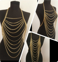 FREE SHIPPING New Style B618 Women Fashion Gold Chains Necklace Sexy Layers Longer Full Body Chains