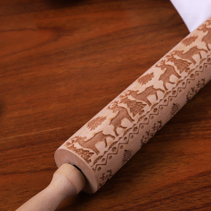 Embossed Holiday Rolling Pins Engraved Cookie Rollers 35/43CM