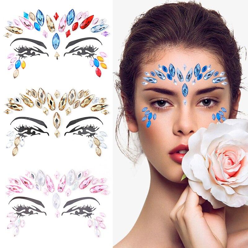 Temporary Tattoo Face Jewelry Gems Rhinestone Decoration Party Makeup Body Shining Festival Tattoos Body Art Stickers Glitter