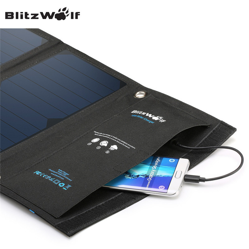 BlitzWolf 15W 2A Foldable Portable Dual USB SunPower Solar Cell Panel Charger Power Bank With Power3S For iPhone For Samsung [qualcomm certified] blitzwolf® qc3 0 2 4a 30w dual usb fast charger us adapter