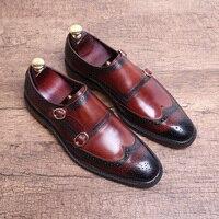 Ручной работы Brogue резные Бизнес обувь без каблука Туфли с ремешком и пряжкой осень формальный костюм Мужская обувь
