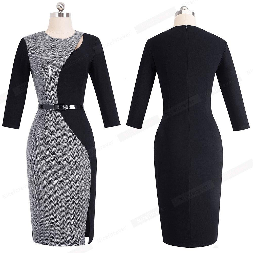 Elegant Contraste Patchwork Dames Travail Bureau Cote Split Robes Femmes Formelle Moulante Eglise Robe Vestidos Hb478 Www Rossobox Com
