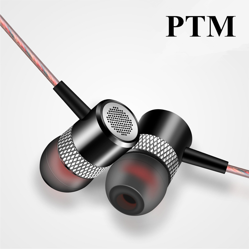 In ear PTM Stereo Earphone Metal Bass Headset Hifi Sport Headfone with microphone handsfree for smart phone MP3 Player