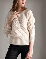 Высший сорт чистый козел кашемир нить вязать Женская мода толстый свитер бежевый белый один и более размер