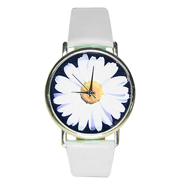 dropshipping  Women Faux Leather Analog Quartz Wrist Watch Chrysanthemum  new design 2016  Dec22  send in 2 days dropshipping woman leather rhinestone rivet chain quartz bracelet wristwatch watch new design 2016 dec08 send in 2 days