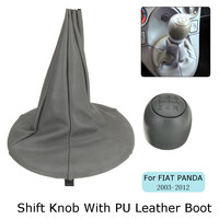 5 Speed Car Gear Shift Knob With PU Leather Gaiter Boot Cover For FIAT PANDA 2003