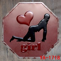 30X30CM Love Heart Girl Vintage Home Decor Tin Sign for Wall Decor Metal Sign Vintage Art Poster Retro Plaque\Plate
