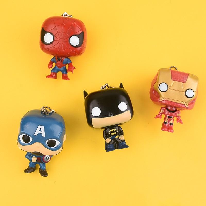 New Creative Cartoon Avengers Car Keychain Iron Man Captain America Spiderman Batman Doll Pendant Gifts