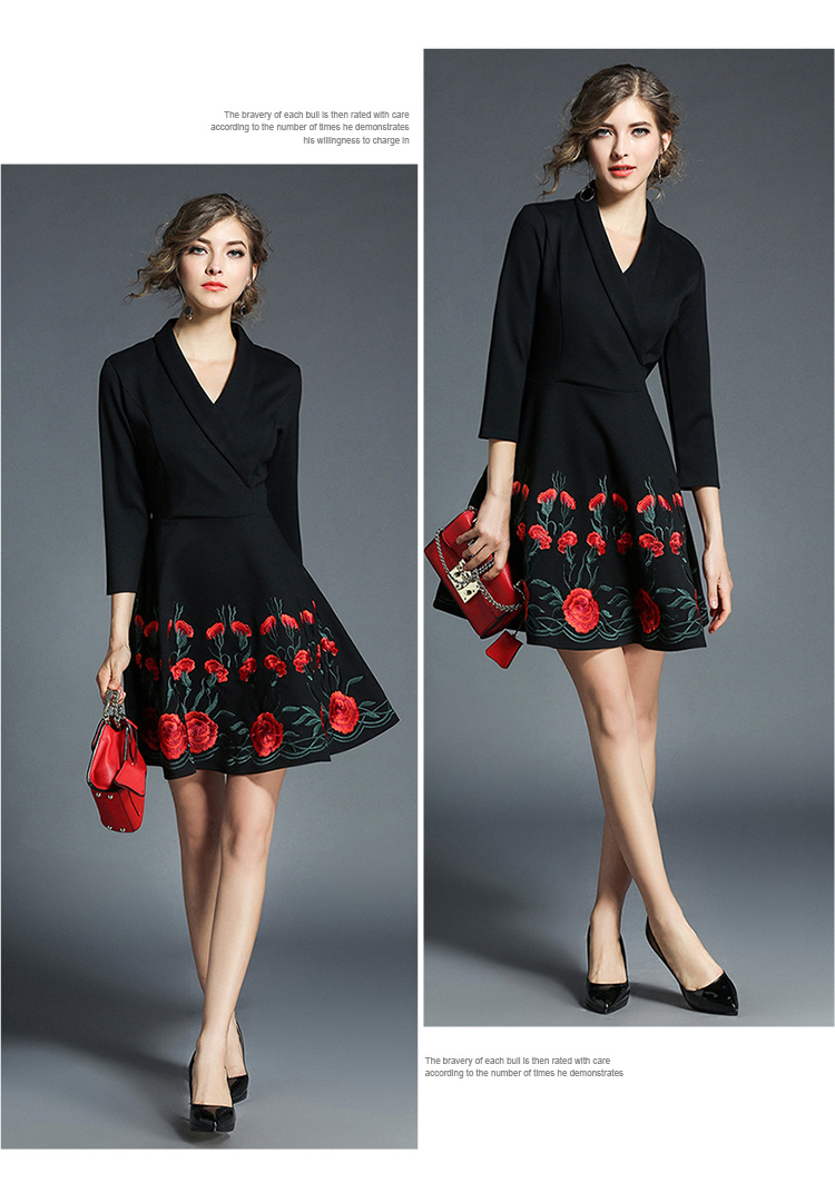 Spring Lapel Floral Embroidery Dress Womens Dresses New Arrival 2018 ...