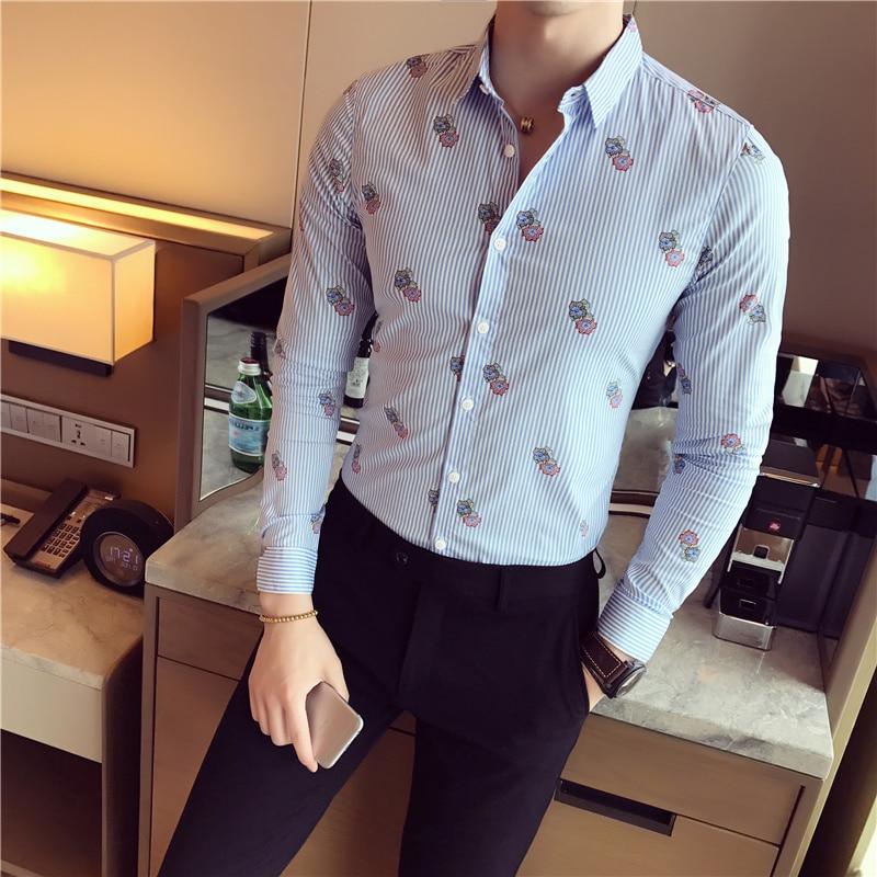 British Style Social Shirt Men New 2018 Autumn Long Sleeve Slim Fit Mens Shirts Striped Print Work Shirts Male Brand Clothing