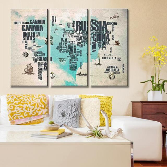 Home Decor Print Canvas Painting Frame 3 Panel Map Vintage Wall Art ...