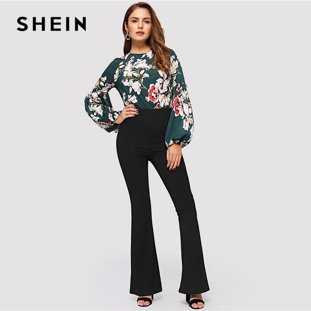 SHEIN Black Elegant Office Lady Elastic Waist Flare Hem Pants Casual Solid Minimalist Pants 2019 Spring Women Pants Trousers 3