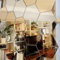 DIY Various Colors Regular Hexagon Honeycomb Crystal Mirror Wall Stickers Home Decor Perfect Restaurant Store Decoration