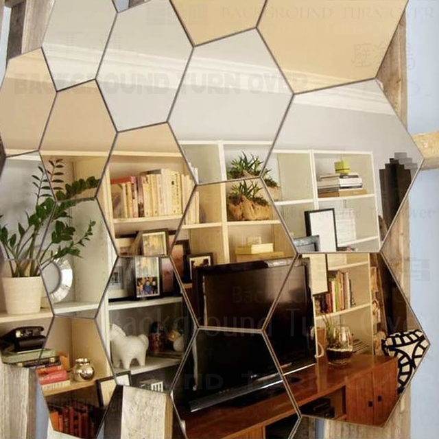 Regular Hexagon Honeycomb Decorative 3D Acrylic Mirror Wall Stickers Living  Room Bedroom Poster Home Decor Room