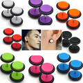 2016 1 Pair Men Women Punk 8mm Dumbbell Style Stud Earrings Piercing Jewelry Charms S239